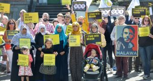 Ibrahim Halawa's sisters Nosayba, Somaia, Omaima, Fatima and Khadija with their children Aisha, Sundus and Hamza protesting along with members of Amnesty International outside the Egyptian Embassy in Dublin on August 17th to mark the fourth anniversary of his arrest. Photograph: Alan Betson