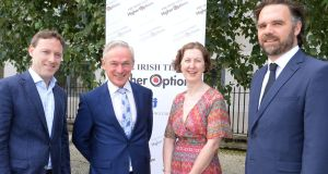 Irish Times education editor Carl O'Brien, Minister for Education Richard Bruton, vice president Institute of Guidance Counsellors Beatrice Dooley and Irish Times education journalist Eanna Ó Caollai at the launch of the Irish Times Higher Options event which begins on September 13th.