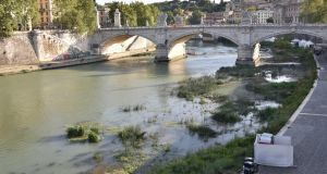 A view of the Tevere river on August 28th during the drought that has hit Rome. Photograph: Giorgio Onorati/EPA