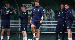 Ireland assistant coach Roy Keane at training in Abbotstown on Tuesday ahead of the World Cup qualifiers against Georgia and Serbia. Photo: Ryan Byrne/Inpho