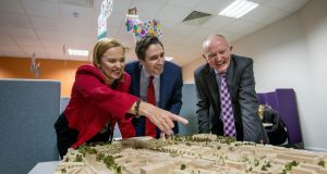 Minister for Health Simon Harris with Children's Hospital Group chief executive Eilish Hardiman and project director John Pollock at St James's. File photograph: Brenda Fitzsimons/The Irish Times