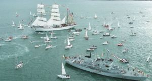 The LÉ Aisling taking part in a Tall Ships flotilla off Dún Laoghaire