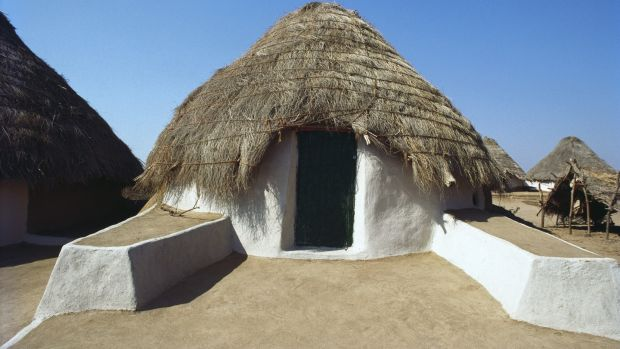 "Earthquake-resistent ""bunga"" mud huts in Burj, Kutch."