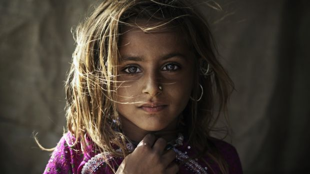A Rabari tribal girl in rural Kutch, Gujarat, India.