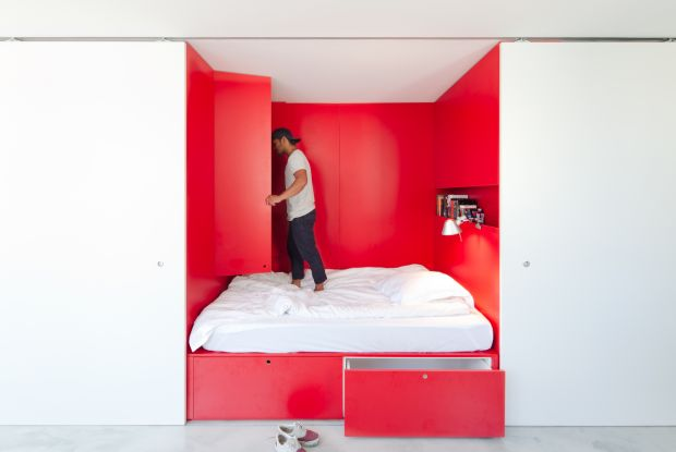 The bedroom of a 27sq m (290sq ft) space in Sydney. Photograph: Katherine Lu