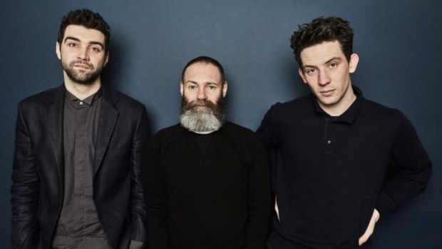 God's Own Country: Francis Lee (centre) with his film's stars, Alec Secareanu and Josh O'Connor. Photograph: Maarten de Boer/Getty