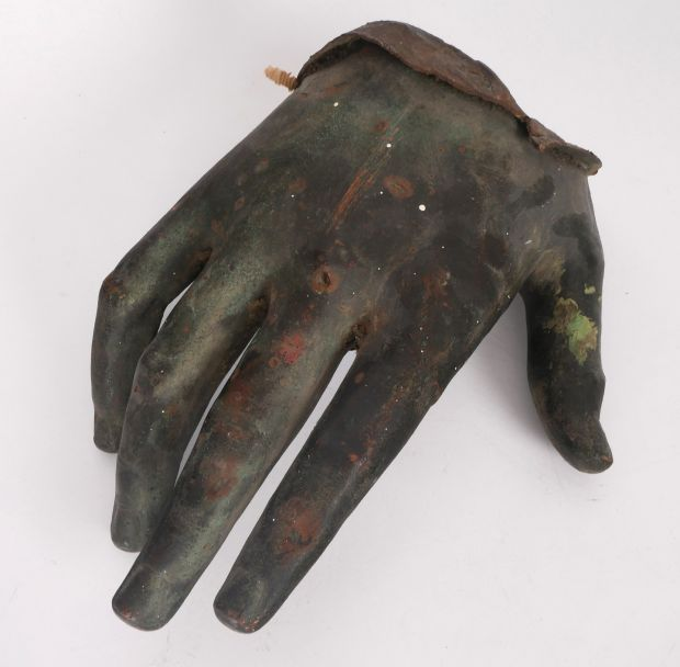 Lot 21, an early-19th century bronze hand estimated at €200-€300, possibly from one of the many statues removed, both legally and illegally, from Dublin after 1922 is up for auction.