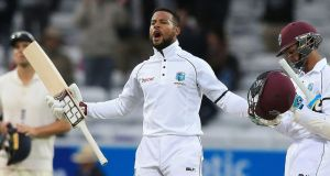 West Indies' Shai Hope reacts after winning the second international Test match against England. Photograph: Getty Images