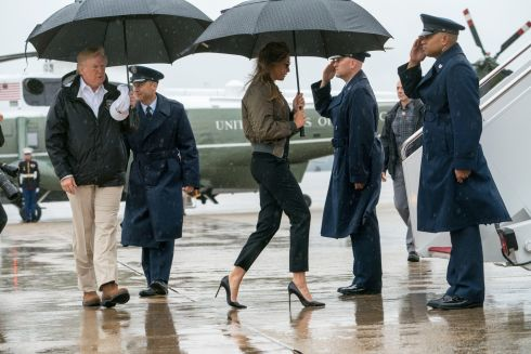 TEXAS TRIP: President Donald Trump and first lady Melania Trump board Air Force One for their trip to Texas, at Joint Base Andrews in Maryland. Photograph: Doug Mills/New York Times