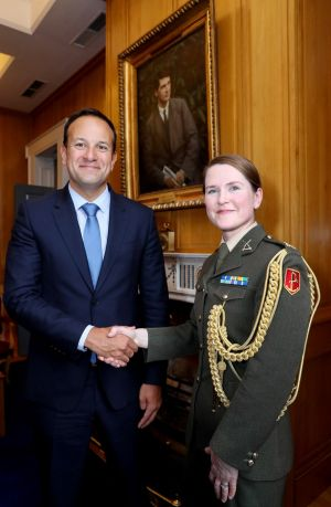 NEW TO THE CAMP: Taoiseach Leo Varadkar welcomes the appointment of Cmdt Caroline Burke to the position of Aide de Camp to the Taoiseach. Photograph: Maxwellphotography.ie