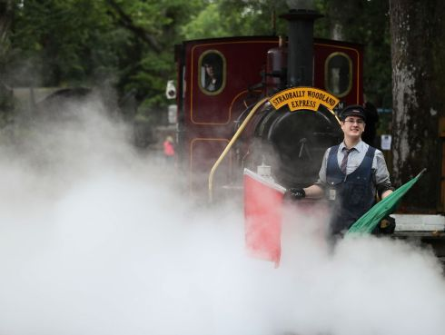 CHOO-CHOO TIME: Alan Curran, driver of the Stradbally Woodland Express steam train, ahead of the Electric Picnic festival in Stradbally, Co Laois. Photograph: Brian Lawless/PA Wire