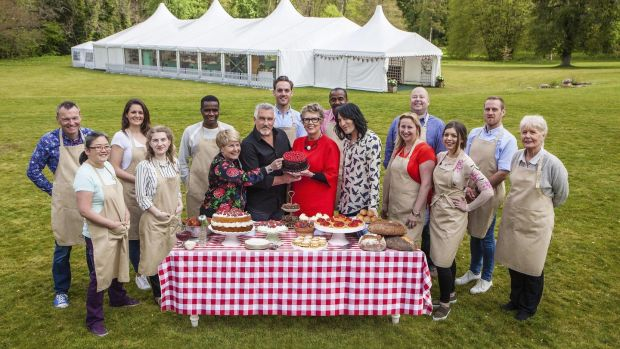 The judges (centre) on the new Channel 4 series of the 'Great British Bake Off', Sandi Toksvig, Paul Hollywood, Prue Leith and Noel Fielding, with this year's bakers, from left: Chris, Yan, Sophie, Julia, Liam, Tom, Peter, Stacey, James, Kate, Steven & Flo. Photograph: Channel 4