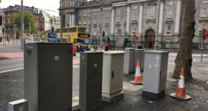 Bad design: metal boxes located on College Green, Dublin to service the new Luas Cross City line. Photograph: Bryan O'Brien