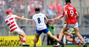 Waterford's Jamie Barron scores his side's fourth goal in their All-Ireland Senior Hurling Championship  semi-final against Cork. Photo: James Crombie/Inpho