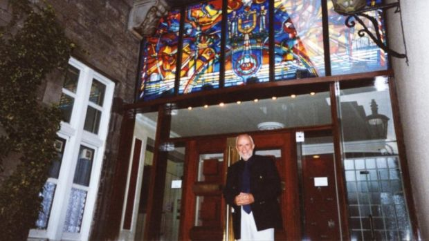 Irish connection: George Walsh in front of his stained-glass window at the University of Edinburgh medical school