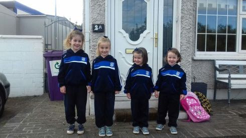 Two sets of McLoughlin twins before heading off to school in Howth Co Dublin - from left Erica and Ingrid (7) who started 1st class and Robyn and Rhiannon (4) starting school. Photograph: Karen MacQualie