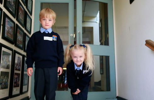 Twins Dalton & Lilly Fitzpatrick Gowlan at St. Olaf's NS, Balally Drive, Dundrum.   Photograph: Nick Bradshaw / The Irish Times