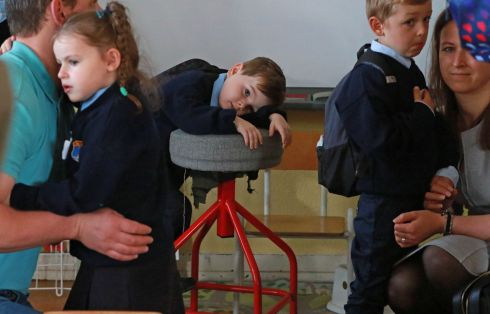 Scott Fagan having a little rest before class began at St. Olaf's NS, Balally Drive, Dundrum.  Photograph: Nick Bradshaw / The Irish Times