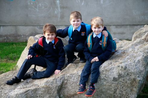 Brothers Paul, Conor and Mark Tallon from Dundrum at St. Olaf's NS, Balally Drive, Dundrum, Dublin 16.   Photograph: Nick Bradshaw / The Irish Times