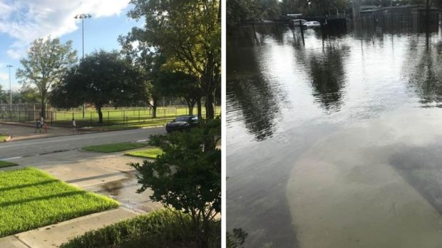 The view outside Paul O'Sullivan's house, before and after Hurricane Harvey.