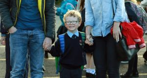Junior infant Joe Fahy from Dundrum on his first day at school at  St Olaf's NS, Balally Drive, Dundrum, Dublin 16.  Photograph:  Nick Bradshaw