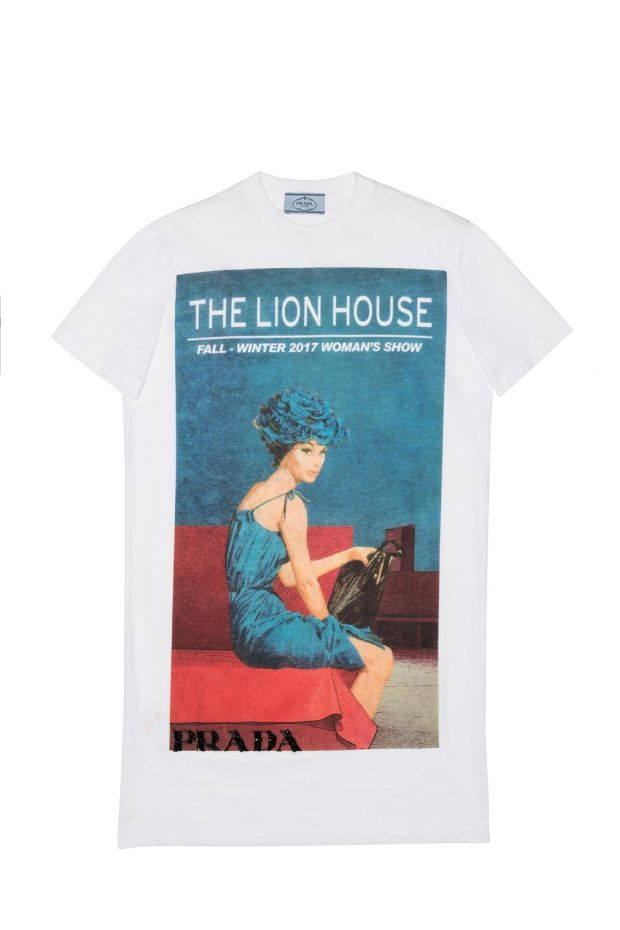 One of the t-shirt from Prada's new Poster Girl lifestyle collection starting from €370