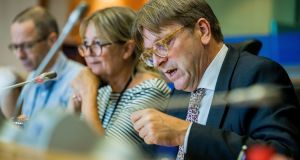 Brexit co-ordinator for the European Parliament Guy Verhofstadt  speaking during  Brexit negotiations  in Brussels. Photograph: EPA/Stephanie Lecocq