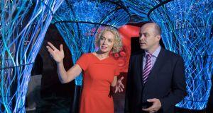 Minister for Communications Denis Naughten  with Vodafone Ireland chief executive Anne O'Leary: new network is designed to wirelessly connect millions of devices with low bandwidth requirements. Photograph: Naoise Culhane