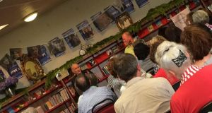 Author Shane Connaughton talks to Martin Doyle, Books Editor of The Irish Times, in Bantry Library as part of the West Cork Literary Festival in July