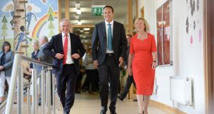 Taoiseach Leo Varadkar (centre) with Minister for Education Richard Bruton and Minister for Employment and Social Protection Regina Doherty at Stanhope Street  Primary School  in Dublin. Photograph: Dara Mac Dónaill.