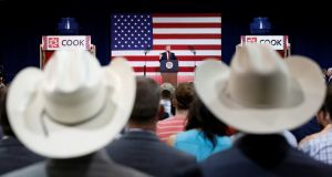 US president Donald Trump speaks about tax reform during a visit to Loren Cook Company in Springfield, Missouri, on Wednesday. Photograph: Kevin Lamarque/Reuters