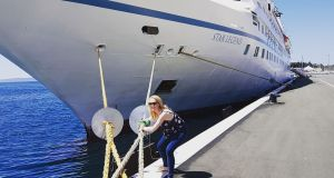 Katie Walsh getting ready to set sail on another cruise ship adventure