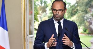 French prime minister Edouard Philippe gives a press conference after a meeting about the new labour code with representatives of French unions at the Hotel Matignon in Paris on Thursday. Photograph: Alain Jocard/AFP/Getty Images
