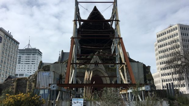 Christchurch Cathedral was severely damaged during the earthquakes and has yet to be repaired. Photograph: John Gregory