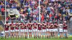 Galway players stand for the national anthem before the semi-final against Tipperary. Can they end the long wait since 1988?  Photograph: Tommy Grealy/Inpho