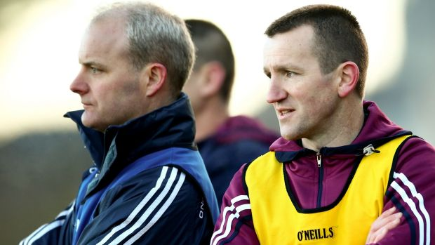 "Galway selector Francis Forde, right, with manager Micheál Donoghue. ""Hopefully, we'll get the level of performance we're looking for and hope that's good enough,"" says Forde. Photograph: James Crombie/Inpho"