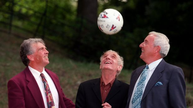 RTÉ sport: Eamon Dunphy with his fellow soccer pundit John Giles and the late host Bill O'Herlihy