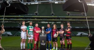 Iain Henderson (Ulster), Dean Budd (Bennetton Treviso), Ken Owens (Scarlets), Isa Nacewa (Leinster), CJ Velleman (Southern Kings), Mark Bennett (Edinburgh) and Cory Hill (Newport Gwent Dragons) at the launch of the Guinness PRO14 season at the Aviva. Photograph: Billy Stickland/Inpho