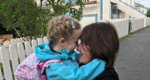Carmel Stelzner with her daughter Nora on her first day of school in Oslo last week.