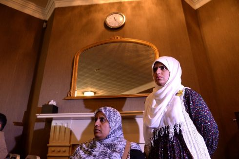 HALAWA CASE: Ibrahim Halawa's sisters Nosayba and Fatima attend a press conference on his detention in Egypt, at Buswells Hotel, Dublin. Photograph: Dara Mac Dónaill/The Irish Times