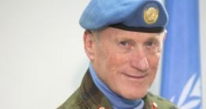 "The Department of Foreign Affairs has defended Maj-Gen Mike Beary (above), saying his ""outstanding record of leadership in numerous international peace-keeping roles speaks for itself"". File photograph: Unifil/UN"