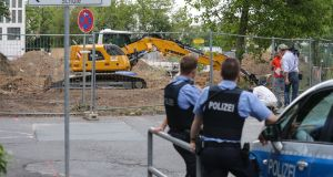 Police secure the area around where a second World War  bomb was found during construction works in Frankfurt, Germany. Photograph: Armando Babani/EPA