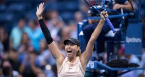Maria Sharapova  celebrates her  second-round win over  Timea Babos  at the US Open in New York. Photograph: Ben Solomon/New York Times