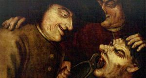 Painful extraction: a painting of early sadistic dentisty.