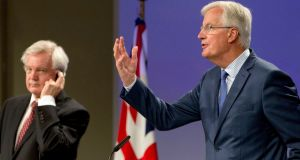 EU chief Brexit negotiator Michel Barnier (r) participates in a press conference withBritish Brexit secretary David Davis in Brussels on Thursday. Photograph: AP Photo/Virginia Mayo