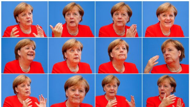 A combination of 12 pictures showing Angela Merkel as she addresses a news conference in Berlin, Germany in August. Photograph: Fabrizio Bensch/Reuters