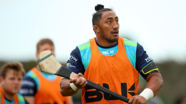 Bundee Aki plays a bit of hurling at Connacht training in the Sportsground, Galway. Photograph: James Crombie/Inpho