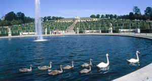 Sanssouci Palace in Potsdam, Germany, now with its fountain