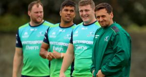 Eoin McKeon, Jarrad Butler, Denis Coulson and James Mitchell during Connacht training this week. Photograph: James Crombie/Inpho