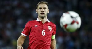 "Serbia defender Branislav Ivanovic: ""Subconsciously we are looking to get six points from the two games."" Photograph:  Srdjan Stevanovic/Getty Images"